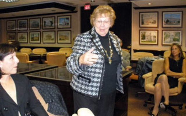State Sen. Loretta Weinberg addresses an Oct. 12 gathering in Woodbridge organized by the National Jewish Democratic Council to raise funds for the reelection campaign of Gov. Jon Corzine. Weinberg is running for lieutenant governor.