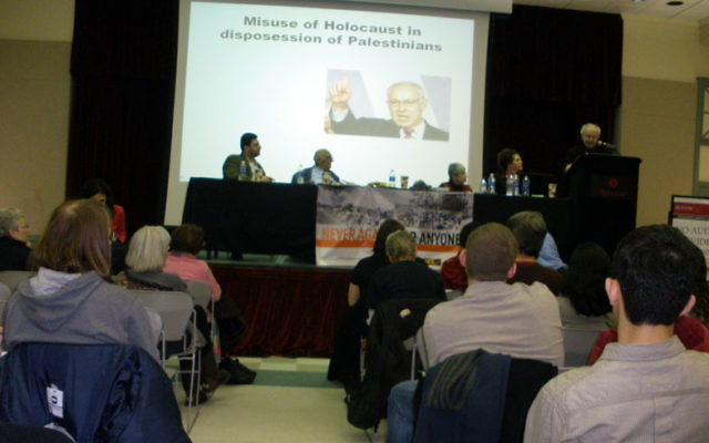 "Holocaust survivor Hajo Meyer was a panelist at the Jan. 29 pro-Palestinian event Never Again for Anyone at Rutgers University in New Brunswick. Using audiovisuals, such as this one showing Israeli Prime Minister Benjamin Netanyahu, he said, ""The Zi"
