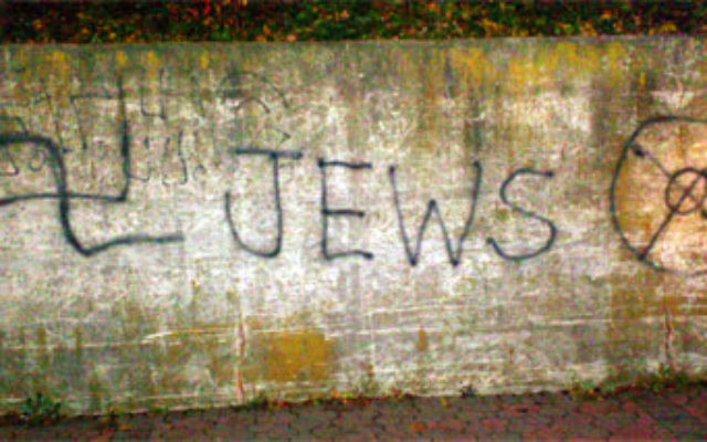 Hate graffiti directed against Jews was found at a train station in Somerville on Nov. 15.