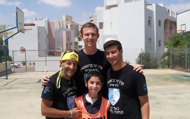 Spencer Rockman, left, who runs soccer camps in Israel, was accompanied this summer by Justin Weissbrod of Scotch Plains, center, and Jesse Talmud of East Brunswick. Photo courtesy Justin Weissbrod