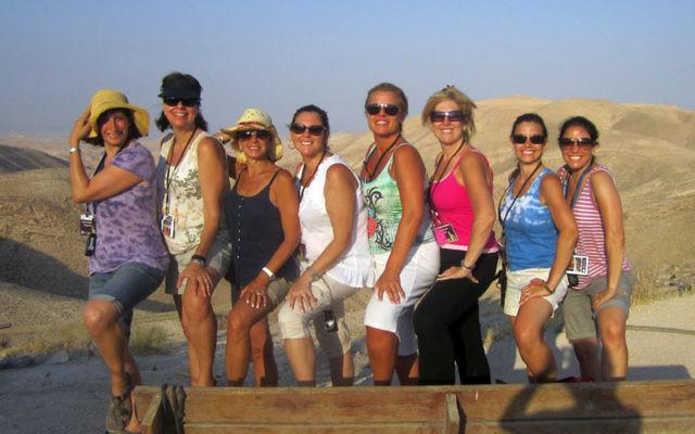 Torah Links mission members from Monmouth visiting the Negev are, from left, Colette Bandler, Terry Stein, Nancy Brandt, Sherri Lane, Debbie Schreiber, Lauren Gilman, Amy Hymanson, and Deborah Rettig. Photo courtesy Deborah Rettig