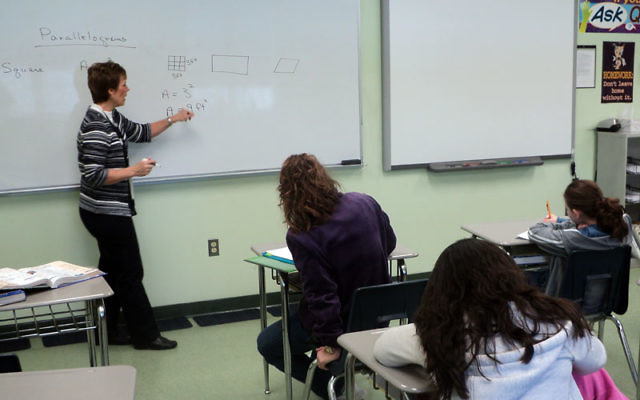Teacher Joan Lamkey teaches a math class at Abrams Hebrew Academy