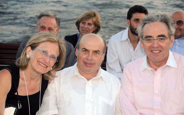 On the Jewish Federations of North American mission to Russia, Rysia de Ravel takes a boat ride in Saint Petersburg with Natan Sharansky, center, and Peter Gelb.