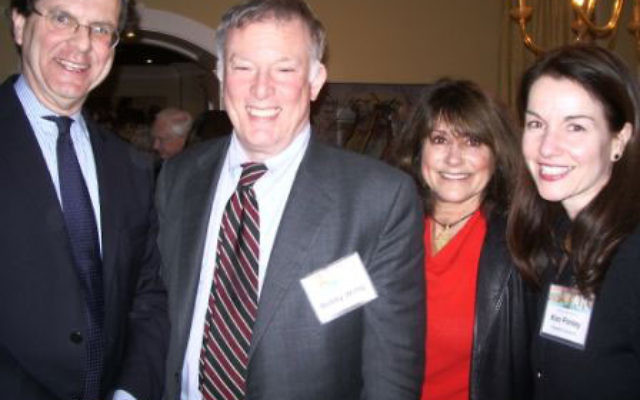 The evening following his presentation at the Woodrow Wilson School, David A. Harris, left, gave a talk on Global Challenges for Jewish Diplomacy for AJC Central NJ President's Circle members, those who have pledged a minimum of $1,000 to the 2010