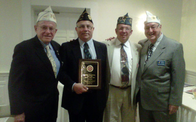 Recognizing Larry Rosenthal, second from left, for his service at the 80th annual conference of the NJ Department of the Jewish War Veterans are, from left, past state commanders Bernie Epworth, Carl Singer, and Irwin Gerechoff.