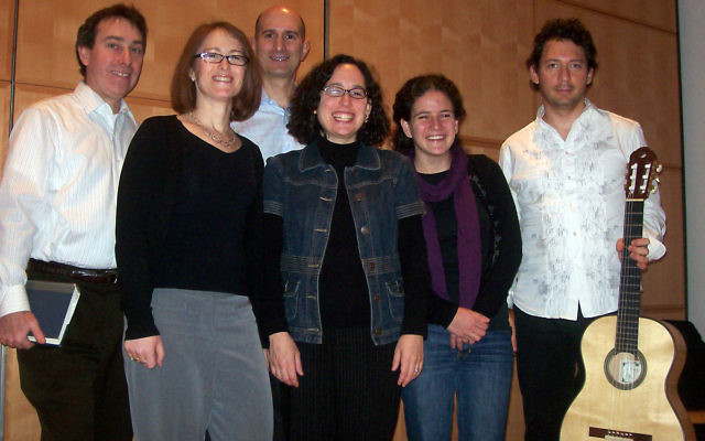The first Zamru service was led by cofounders, from left, Avi Paradise, Margaret Berger, Dean Edelman, and Rabbi Julie Roth. Princeton graduate student Deborah Beim and guitarist Dan Nadel were also at the inaugural event.