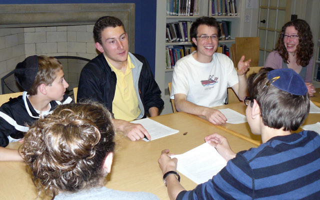 Teens and their Princeton undergraduate teachers gather for a session of the Rimon Teen Learning Initiative at the Princeton University Center for Jewish Life/Hillel. Photos courtesy Rimon Center for Jewish Learning