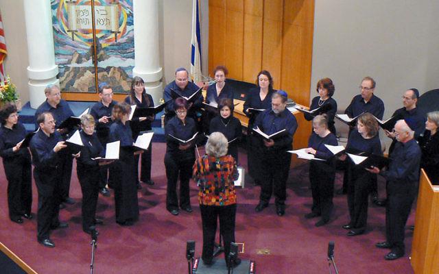 Sharim v'Sharot, led by Dr. Elayne Grossman, center, performed at the Mercer County Jewish Choral Festival at Congregation Beth Chaim, West Windsor, in March 2009. Photo courtesy David Govorko