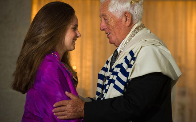 B'nei mitzva grandfather-granddaughter duo Murray Goldfinger and Rebecca Chanin