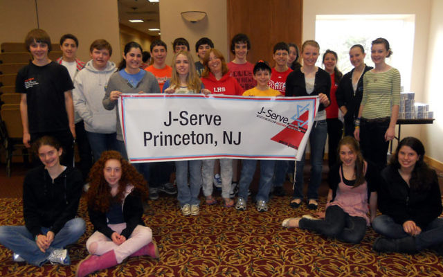 The J-Serve team included, from left, seated, Leah Falcon, Jill Park, Peri Feldstein, and Rachel Goldfinger; and Matthew Wold, Dustin Tabor, T.C. Fine, Emily Pressman, Harrison Bronfeld, Lucian Chown, Samantha Wagner, Adam Gershen, Jessica Rubinstein, Ale