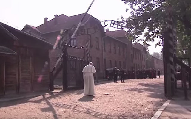 Pope Francis visiting Auschwitz, July 29, 2016. (Screenshot from YouTube)