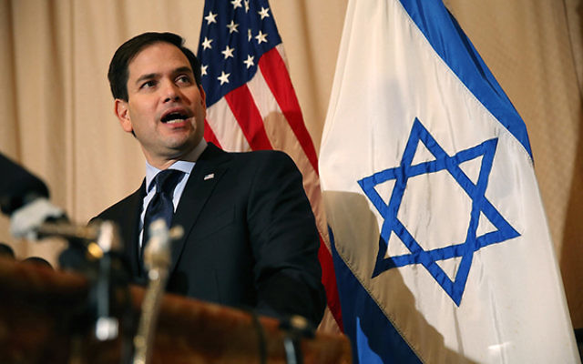 Republican presidential candidate Marco Rubio speaking at a news conference at Temple Beth El in West Palm Beach, Fla., March 11, 2016.