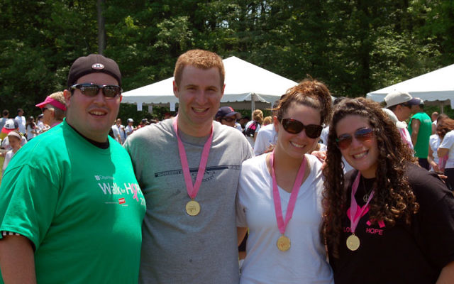 Janna Zuckerman of Edison, right, at a previous Michelle Offsie Memorial Walk with, from left, her brother, Mitchell Zuckerman, and friends Ian Targovnik and Alyssa Targovnik. Photo courtesy Janna Zuckerman