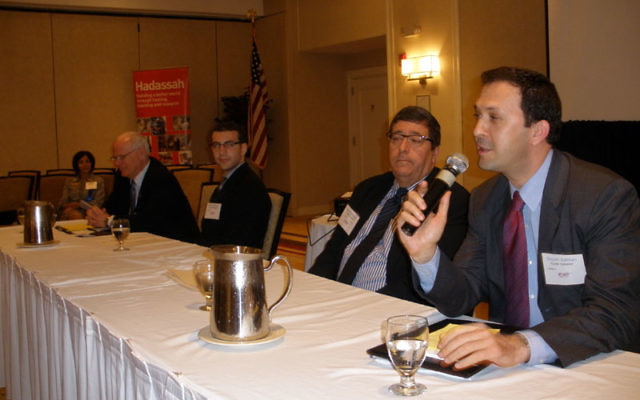 Shlomi Kofman, Israeli deputy consul general in New York, takes part in a panel discussion at the Southern NJ Region of Hadassah's spring conference, along with, from left, Jacob Toporek of the State Association of Jewish Federations; Rutgers Hillel
