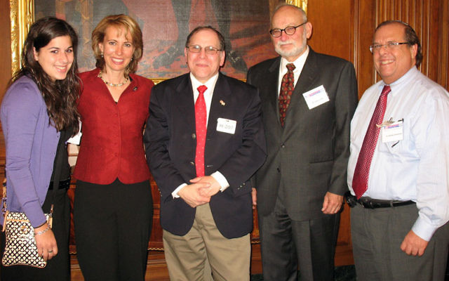 Meeting with Rep. Gabrielle Giffords, second from left, during a NORPAC mission to Washington last May are members of the Edison/Highland Park Jewish community, from left, Shayna Schwarzberg, Milton Erdfarb, Nathan Orgel, and Dr. Stanley Zimmerman. Photo