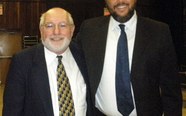 Rabbi Bernhard Rosenberg of Congregation Beth-El, left, with Imam Moustafa Zayed of the Islamic Center of New Jersey following a program at the synagogue in which the imam spoke about connections between Judaism and Islam. Photo by Debra Rubin