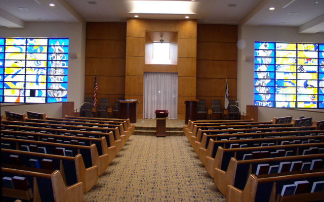 The sanctuary of Highland Park Conservative Temple-Congregation Anshe Emeth in its newly refurbished state.