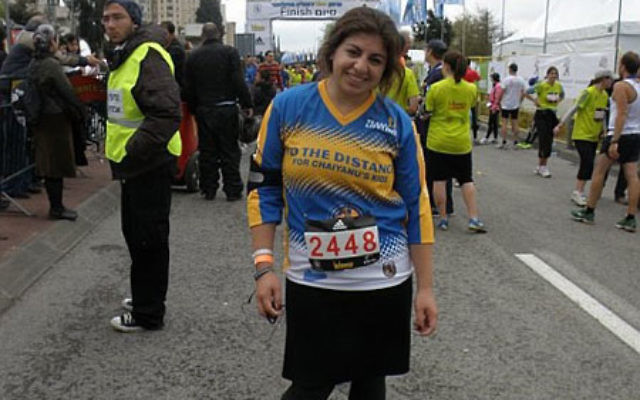 Pia Levine of Highland Park competed in the Jerusalem Marathon just two days after being in a suicide bus bombing. Photo courtesy Pia Levine