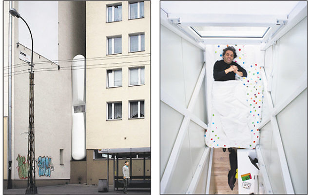 Wedged between two apartment buildings in Warsaw, the house designed for Etgar Keret in 2012 by architect Jakub Szczesny is barely four feet wide. Right, Keret spends his first night in the house.