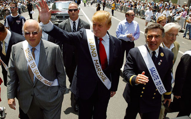 Donald Trump serving as grand marshal in the Salute to Israel Parade in New York, May 23, 2004. (Ron Antonelli/NY Daily News Archive via Getty Images)
