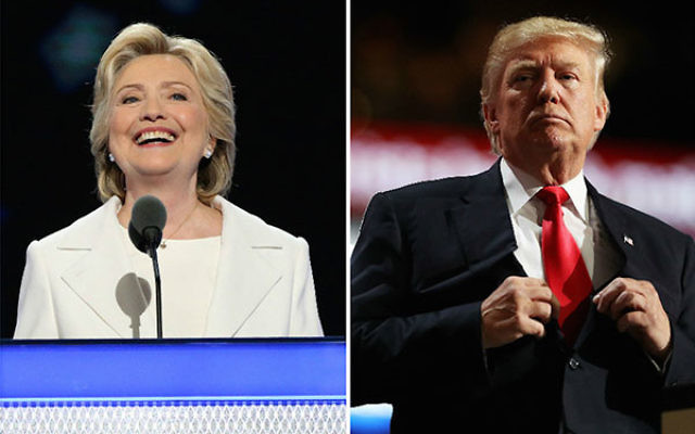 Hillary Clinton speaking on the fourth day of the Democratic National Convention in Philadelphia, July 28, 2016 and Donald Trump speaking on the fourth day of the Republican National Convention in Cleveland, July 21, 2016. (Paul Morigi/Getty Images, Joe R