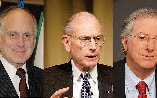 Increasingly frustrated with Netanyahu and his coalition: Ronald Lauder, left, Stuart Eizenstat, middle, and Dennis Ross.