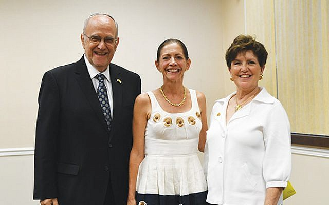With First Lady Tammy Murphy, center, are NJ State Association of Jewish Federations president Marlene Herman and her predecessor, Gordon Haas