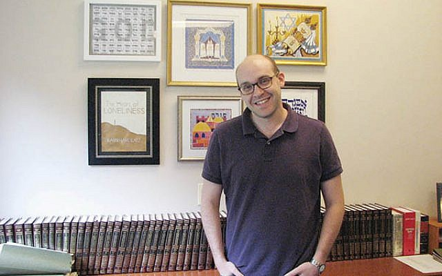 Rabbi Marc Katz in his office at Ner Tamid in Bloomfield.  (Photos by Johanna Ginsberg)