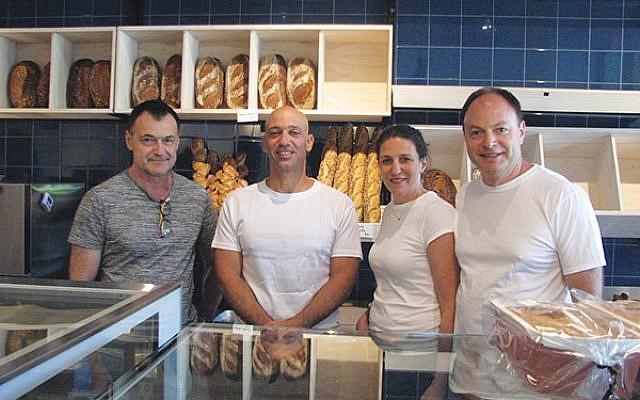 Liv Bread Bakery owners, from left: Rogev Livneh, Bary Yogev, Elana Livneh, and Yaniv Livneh. Photos by Johanna Ginsberg