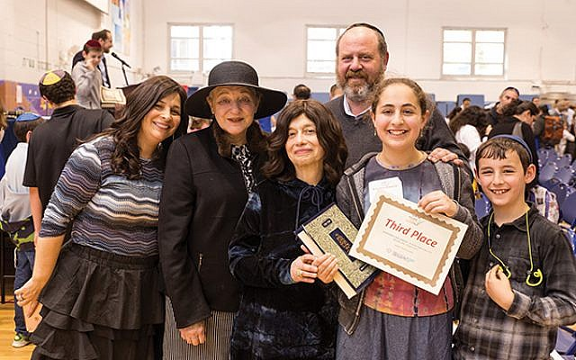 Ariella Fohrman, second from right, of Yeshivat Netivot in East Brunswick, was a top-scoring eighth-grader at the USA Bible Quiz.