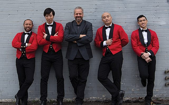 """From left, Franc-Anton Harwart, Alex Seo, director Larry Weinstein, Andrew Chung, and Jordan Michael Phouttharath. Courtesy """"Dreaming of a Jewish Christmas"""""""