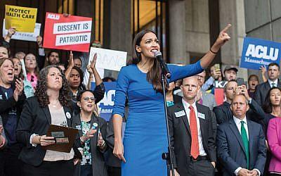 Alexandria Ocasio-Cortez speaks at an Oct. 1 rally in Boston to protest Judge Brett Kavanaugh's nomination. Scott Eisen/Getty Images