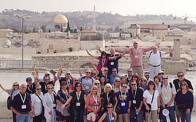 A busload of participants in Jerusalem from the Four Corners of Israel Community Trip. Photo via Facebook