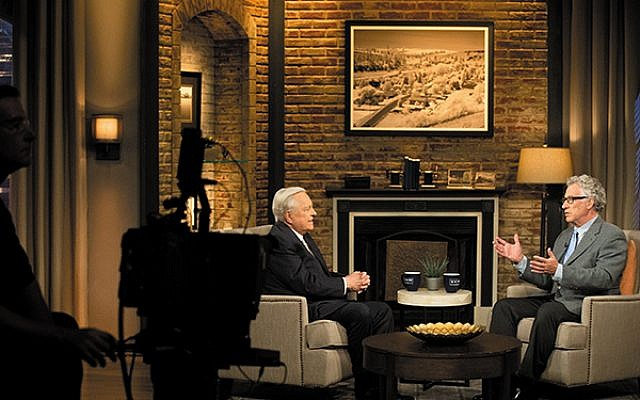 "Eric Goldman, right, during his September 2014 stint as guest host for the Turner Classic Movies TV series, ""The Projected Image: The Jewish Experience on Film,"" with TCM's primary host, Robert Osborne. Goldman will offer a program on Dore Schary at NJPAC."