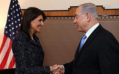 Israeli Prime Minister Benjamin Netanyahu meets with U.S. Ambassador Nikki Haley at the United Nations in New York, March 8, 2018. JTA