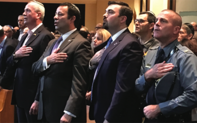 Gov. Phil Murphy, Dov Ben-Shimon, Director of N.J.'s Office of Homeland Security and Preparedness Jared Maples, and N.J. State Police Superintendent Col. Patrick J. Callahan at Sunday's gathering in Livingston. Photo by Shira Vickar-Fox