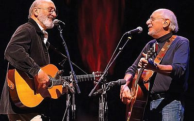 Two troubadours, Peter Yarrow, at right, with Noel Paul Stookey.