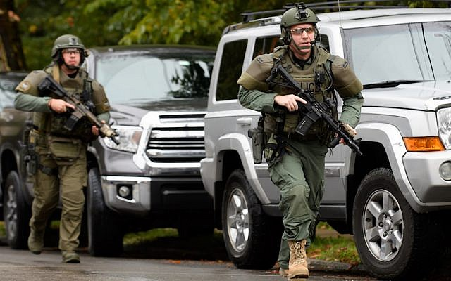 Police respond to a mass shooting at the Tree of Life Synagogue in the Squirrel Hill neighborhood of Pittsburgh, Oct. 27, 2018. JTA