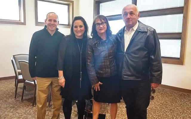 At a brunch at Rutgers Hillel memorializing Ezra Schwartz are, from left, his parents, Ari and Ruth Schwartz, and his grandparents, Laurie and Alan  Senecal. Photos by Debra Rubin