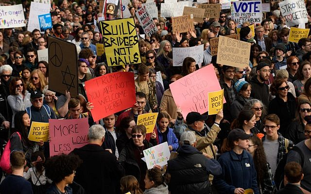 An estimated 4000 people gathered to march for solidarity in the Squirrel Hill neighborhood while President Donald Trump was visiting October 30, 2018 in Pittsburgh, Pennsylvania. The march was in support of the victims of the Tree of Life mass shooting October 27, 2018. Getty Images
