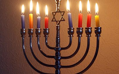 Chanukah menorah. Wikimedia Commons/	39james