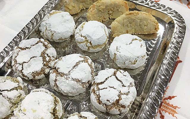 """Meska Sweets's Moroccan-style cookie covered in powdered sugar won  Kosherfest's Best """"Sweet Snacks and Cookies.""""Photo by Shira Vickar-Fox"""