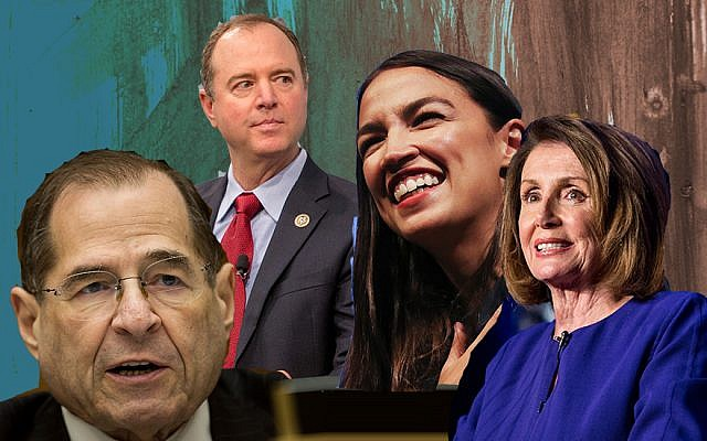 The new Democratic majority in the House of Representatives will see, from left, Jewish lawmakers Jerrold Nadler and Adam Schiff in key leadership roles, upstart Alexandria Ocasio-Cortez representing the insurgent left and Nancy Pelosi in line to be speaker. (Getty Images)