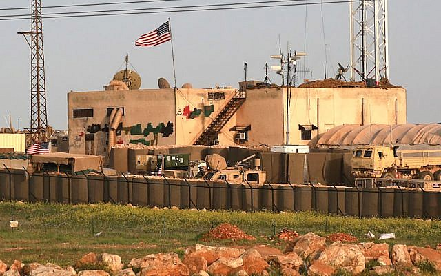 A view of a US military base in the al-Asaliyah village, between the city of Aleppo and the northern town of Manbij, in Syria, April 2, 2018. Delil Soueiman/AFP/Getty Images
