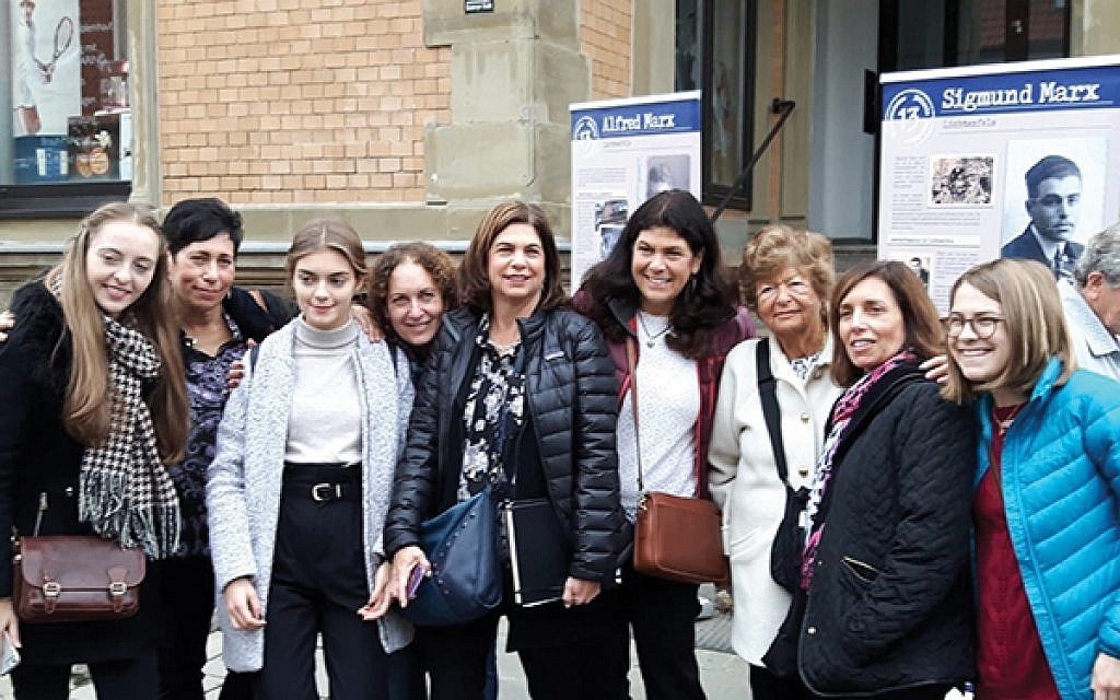 Students with Marx family descendants in front of the family home in Lichtenfels, from left, Victoria Thiel, Lisa Salko, Clara Aumüller, Linda November Tutin, Suzanne Schlesinger, Nancy Stanton-Tuckman, Inge Stanton, Debbie November-Rider, and Ellie Schlesinger. (Photos courtesy Nancy Stanton-Tuckman)