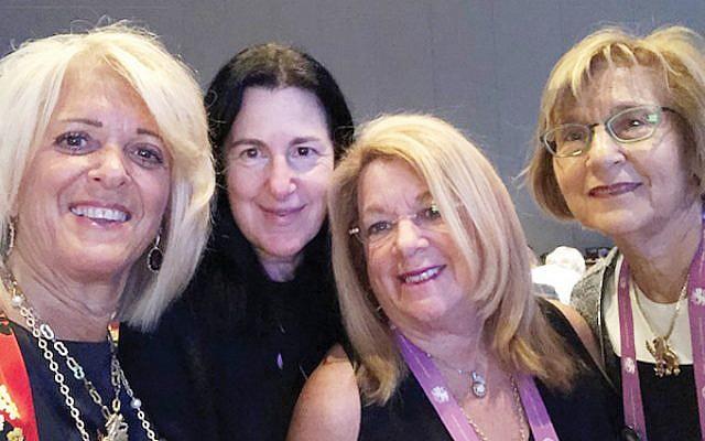 At the International Lion of Judah Conference are, from left, Kipnis-Wilson/Friedland Award winner Linda Block and Susan Antman, Brenda Tanzman, and Rona Shein.
