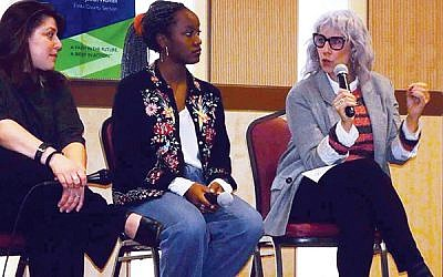 "From left, Jen Moore Conrow, Solange Azor, and ""Daily Show"" co-founder Lizz Winstead, discuss breaking down barriers to protect reproductive rights at the NCJW/Essex Lunch and Learn on Jan. 24.  Photo courtesy NJCW/Essex"