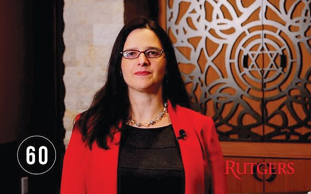 Rutgers Hillel senior associate director Rabbi Esther Reed wrote her script for a video on the importance of speaking out against anti-Semitism.  Photo courtesy Rutgers University