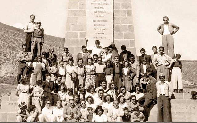Jews from Ecuador at the Equatorial monument in the 1940s. Courtesy Eva Zelig