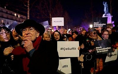 "People take part in a rally against antisemitism, at Republique square in Paris, on February 19, 2019. - A flare-up of anti-Semitic acts culminated in a violent tirade against a prominent writer during ""yellow vest"" anti-government protests last weekend. 96 Jewish graves were also vandalised in the village of Quatzenheim, close to the border with Germany in the Alsace region on February 19, 2019, on the day of nationwide actions against a rise in anti-Semitic attacks. Getty Images"